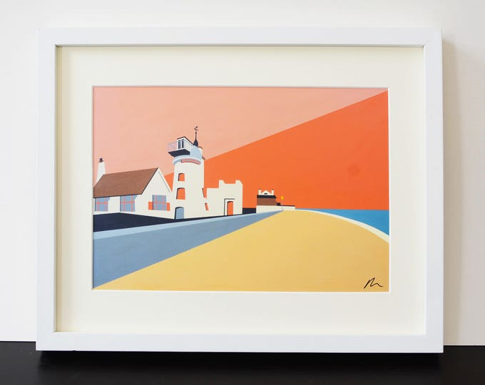 ALDEBURGH MILL Art Print - British Seaside - Travel Poster - Suffolk - by Rebecca Pymar
