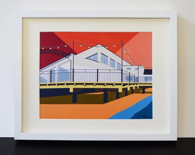 SOUTHWOLD PIER themed Mounted Fine Art Print - 'Pier Pavilion' - British Seaside - Art Deco - Travel Poster - by Rebecca Pymar