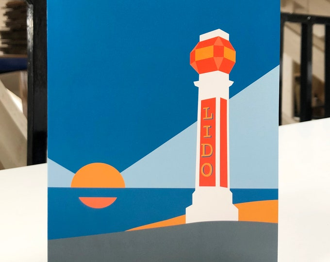LIDO - MARGATE Travel Poster Style Greetings Card by Rebecca Pymar
