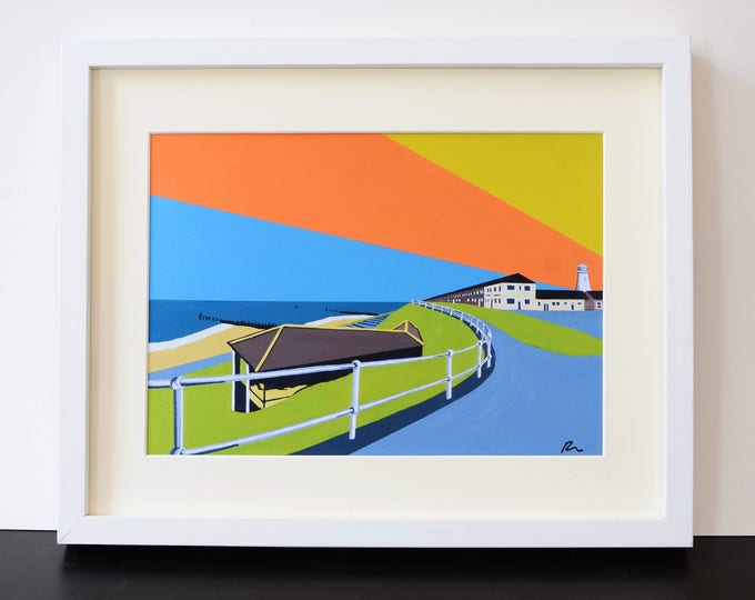 LIGHTHOUSE Mounted Fine Art Print - 'Lighthouse View' - Travel Poster - SOUTHWOLD - English Seaside - by Rebecca Pymar