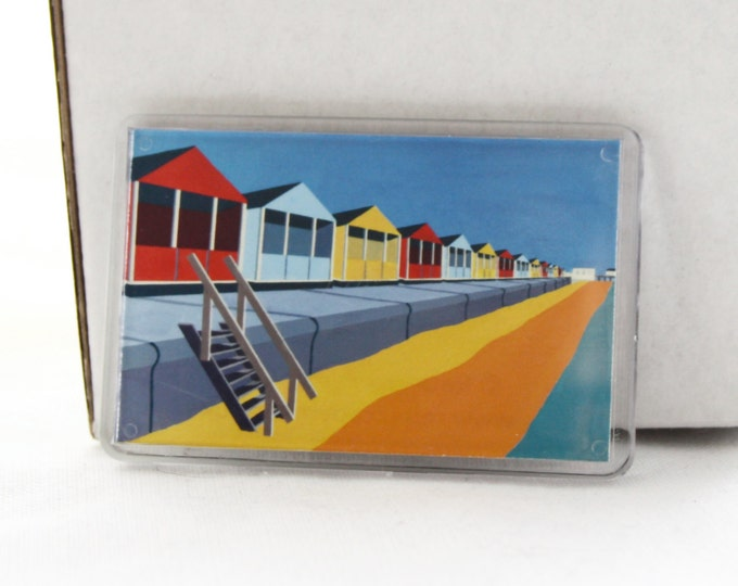 Beach hut themed Fridge magnet 'Upright and Proud' by Rebecca Pymar