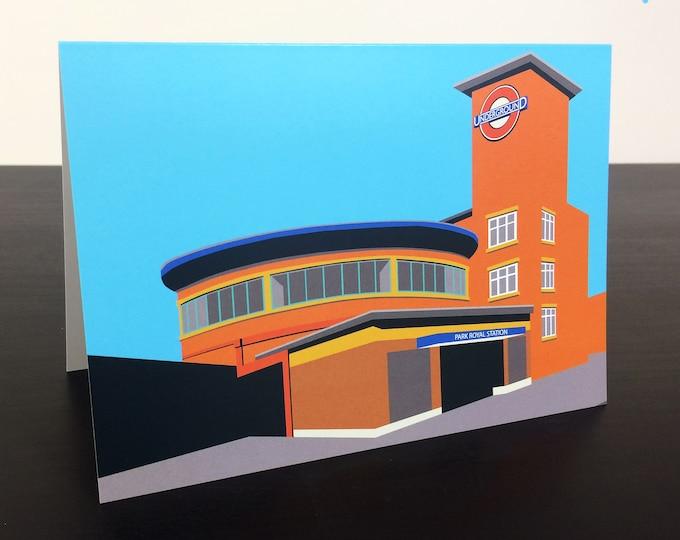 LONDON Tube Station Greetings Card 'Park Royal Station' Art Deco Illustration by Rebecca Pymar