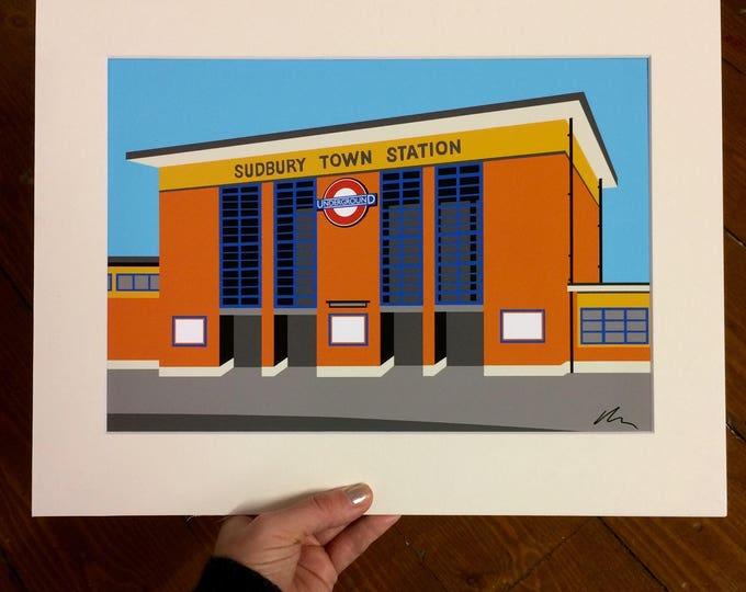 Sudbury Town Station - Mounted Print - London Underground illustration - Art Deco Tube Station Series