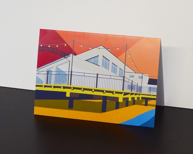Southwold Pier themed Artists Greetings Card by Rebecca Pymar