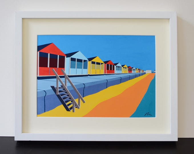 SOUTHWOLD Beach Huts Mounted Fine Art Print - 'Upright and Proud' - English Seaside - Art Deco - Travel Poster - by Rebecca Pymar