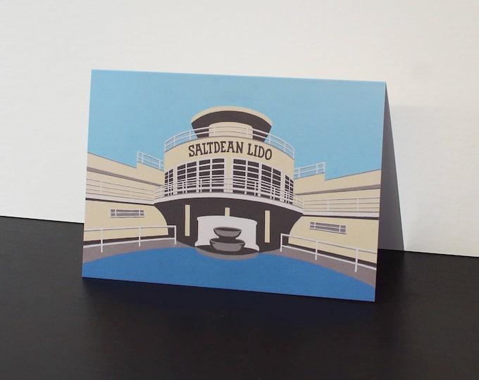 SaltDean Lido Artists Greetings Card by Rebecca Pymar