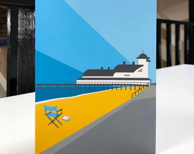 FELIXSTOWE PIER Travel Poster Style Greetings Card by Rebecca Pymar