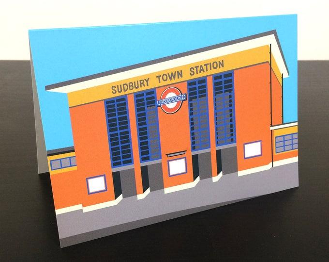 LONDON Tube Station Greetings Card 'Sudbury Town Station' Art Deco Illustration by Rebecca Pymar