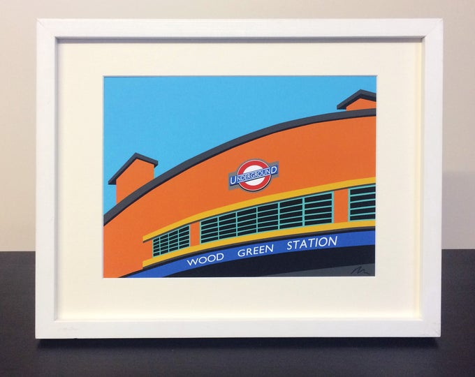 Wood Green Station - Mounted Print - London Underground illustration Travel Poster - Art Deco Tube Station Series - by Rebecca Pymar