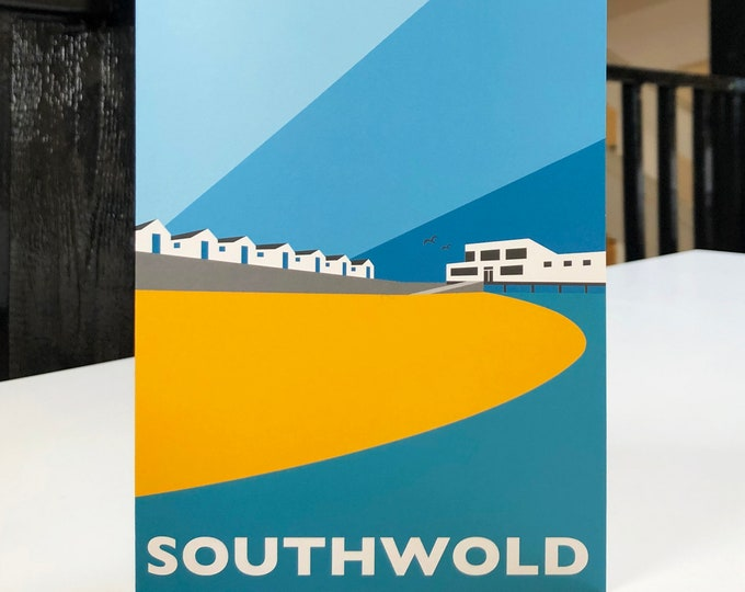SOUTHWOLD Travel Poster Style Greetings Card by Rebecca Pymar