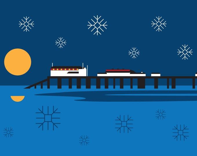 Cromer Pier Christmas Card by Rebecca Pymar