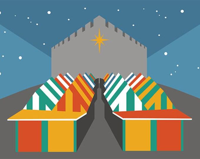 Norwich Market / Norwich Castle Christmas Card by Rebecca Pymar - 'Merry Christmas!'