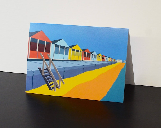 Beach Hut themed Artists Greetings Card by Rebecca Pymar