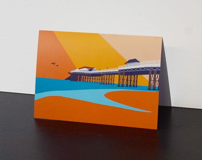 Cromer Pier themed Artists Greetings Card by Rebecca Pymar