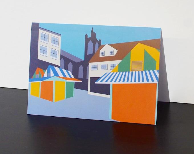 Norwich Market themed Artists Greetings Card by Rebecca Pymar