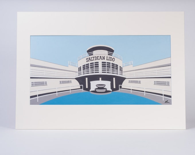 Salt Dean Lido Mounted Fine Art Print - Brighton and Hove - Art Deco - Swimming Pool - Travel Poster - by Rebecca Pymar