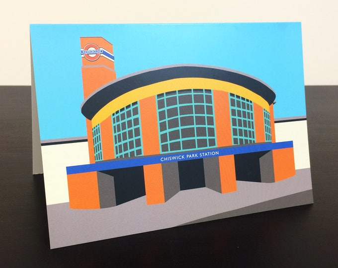 LONDON Tube Station Greetings Card 'Chiswick Park Station' Art Deco Illustration by Rebecca Pymar