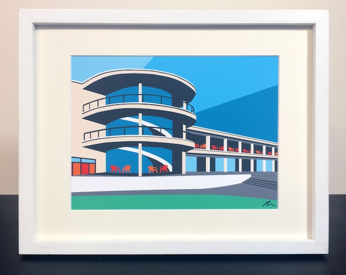 De La Warr Pavilion - Mounted Fine Art Print - British Seaside - Art Deco - Travel Poster - by Rebecca Pymar