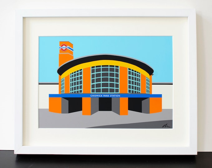Chiswick Park Station - Mounted Print - London Underground illustration Travel Poster - Art Deco Tube Station Series - by Rebecca Pymar