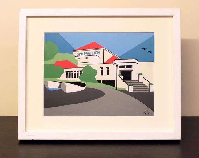 Felixstowe Themed Mounted Fine Art Print - 'Spa Pavilion' - Travel Poster - British Seaside - Art Deco - by Rebecca Pymar