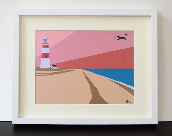 LIGHTHOUSE themed Mounted Fine Art Print - 'Orford Ness Lighthouse' - British Seaside - Travel Poster - Suffolk - by Rebecca Pymar