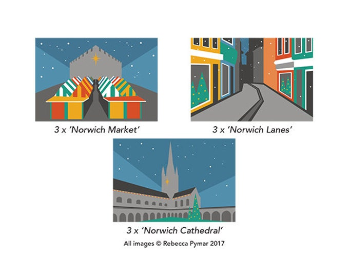Norwich themed Christmas Cards, Pack of 9
