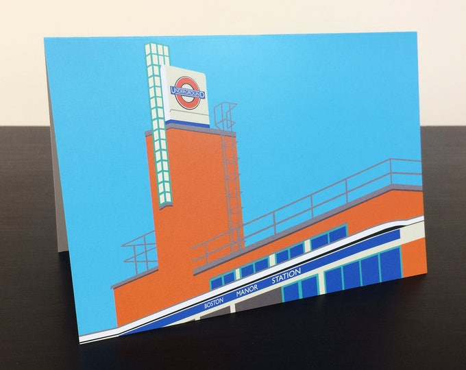 LONDON Tube Station Greetings Card 'Boston Manor Station' Art Deco Illustration by Rebecca Pymar