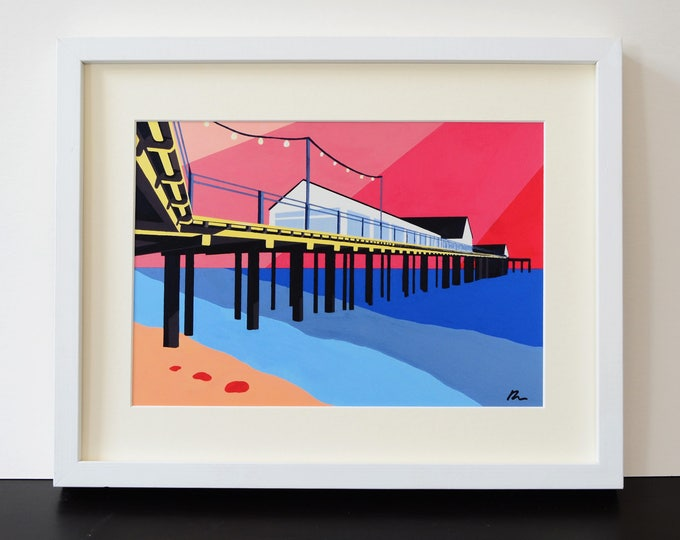 SOUTHWOLD PIER themed Mounted Fine Art Print - 'Look Up and Out' - English Seaside - by Rebecca Pymar