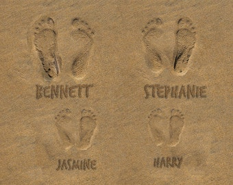 Personalized Mothers Day Gift for Mom Family Gift Ocean Beach Footprints Photo Names in Sand Beach Decor pp180