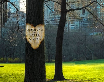 Personalized Wedding Gift Central Park New York Nyc Tree Heart Customized Names Photo Anniversary Valentines Day pp60