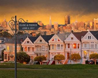 San Francisco Wedding - Personalized Wedding Gift - Romantic Anniversary Gift - Steiner Street Houses pp194