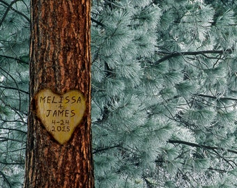 Personalized Wedding Gift Tree Carved Heart Names Pine Winter Customized Photo Anniversary Valentines Day Invitation pp40