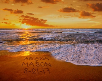 Romantic Sunset Beach Decor Names in Sand Personalized Wedding Gift Photo Unique Anniversary Gift Gift for Wife pp169
