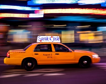 Personalized Wedding Gift New York Taxi Cab Nyc Customized Names Photo Anniversary Valentines Day Invitation pp4