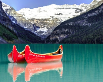 Personalized Wedding Gift - Canoes - Romantic Outdoor Decor - Unique Anniversary Gift - Banff Heart Photo pp113