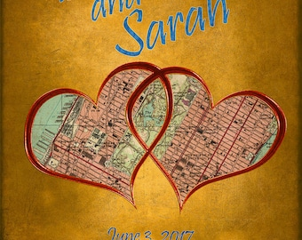 Personalized Wedding Gift Map of Venue Customized Names Anniversary Valentines Day Wedding Invitation pp186
