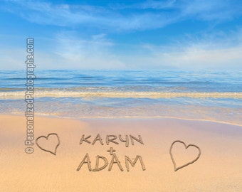 Names in the Sand - Romantic Beach Decor - Personalized Photo - Personalized Wedding Gift - Anniversary Gift pp84