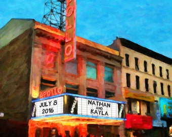 New York Wedding Apollo Theater Marquee Personalized Wedding Gift Print Anniversary Present Valentines Day pp175