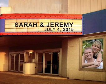 Movie Theater Marquee Personalized Wedding Gift Names Date Photograph Anniversary Valentines Day Invitation Photo pp49