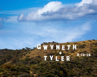 Hollywood Sign Personalized Wedding Gift Customized Names Photo Los Angeles California Anniversary Valentines Day pp31