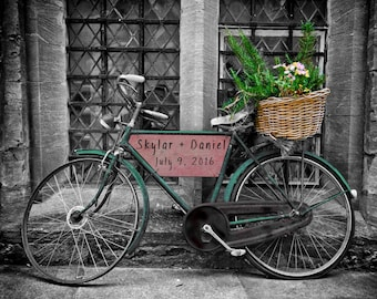 Personalized Wedding Gift Vintage Bicycle City Bike Urban Customized Names Photo Anniversary Valentines Day pp69