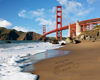 San Francisco Wedding Gift - Golden Gate Bridge - Personalized Wedding Present Romantic Anniversary Gift pp193