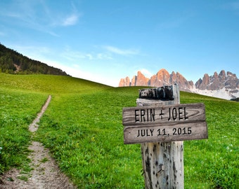 Personalized Wedding Gift Outdoors Hiking Trail Sign Field Mountains Customized Names Photo Anniversary Valentines Day pp66