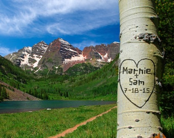 Wedding Gift Maroon Bells Personalized Aspen Carved Heart on Tree Colorado Names Photo Anniversary Valentines Day pp77