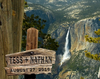 Personalized Wedding Gift Yosemite Falls California Nature Customized Names Photo Anniversary Valentines Day Invitation pp57