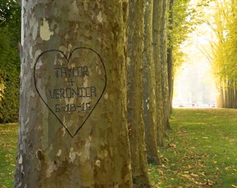 Personalized Wedding Gift Tree Trunk Carved Heart  Names Customized Photo Anniversary Valentines Day pp143