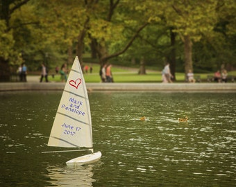 Personalized Wedding Gift New York City Central Park Toy Sailboat Romantic Anniversary Gift Customized Spring Nyc pp170