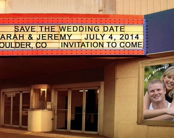 Save The Date Card Movie Theater Marquee Personalized Names Photograph Invitation Photo Sign Announcement pp50