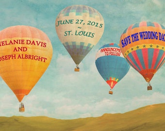 Save The Date Card - Personalized Wedding Announcement - Hot Air Balloons - Printable Photograph Digital File pp86