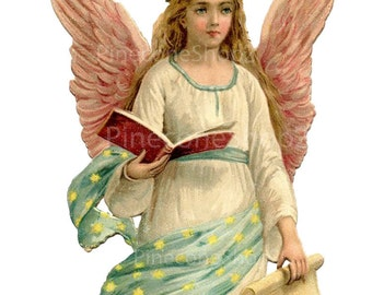 Vintage Angel in PNG  3.75 x 7 inch INSTANT DOWNLOAD